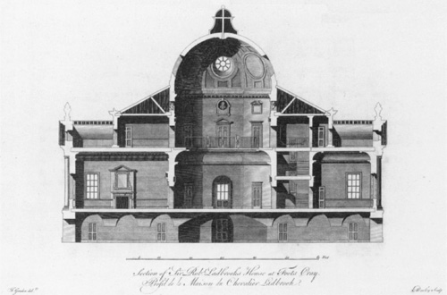 Foots Cray Place - engraving by James Gandon - 1767